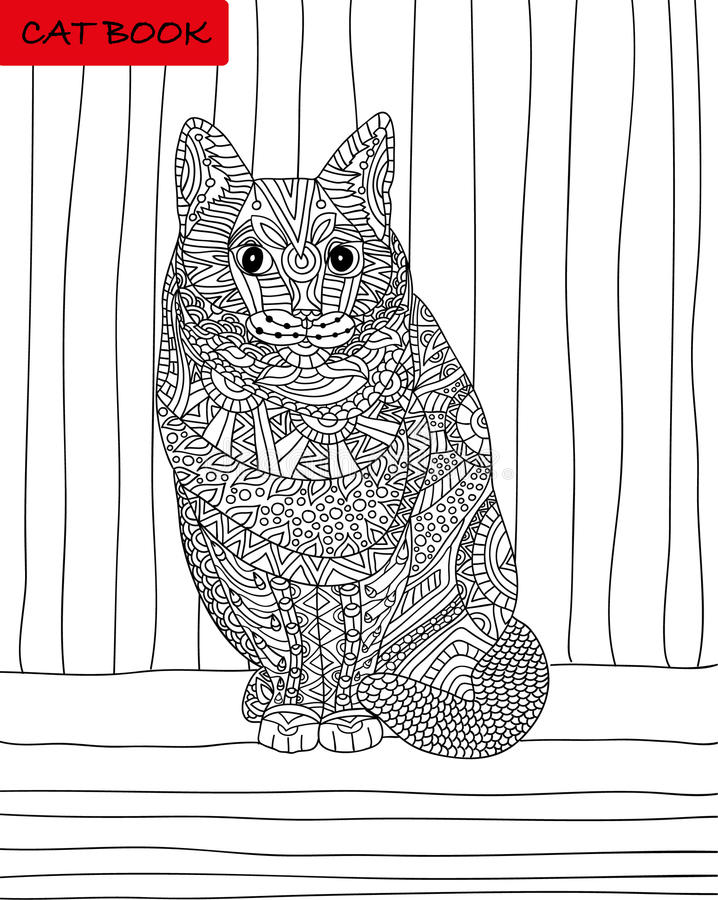 Cat's book. Coloring book for adults. stock illustration