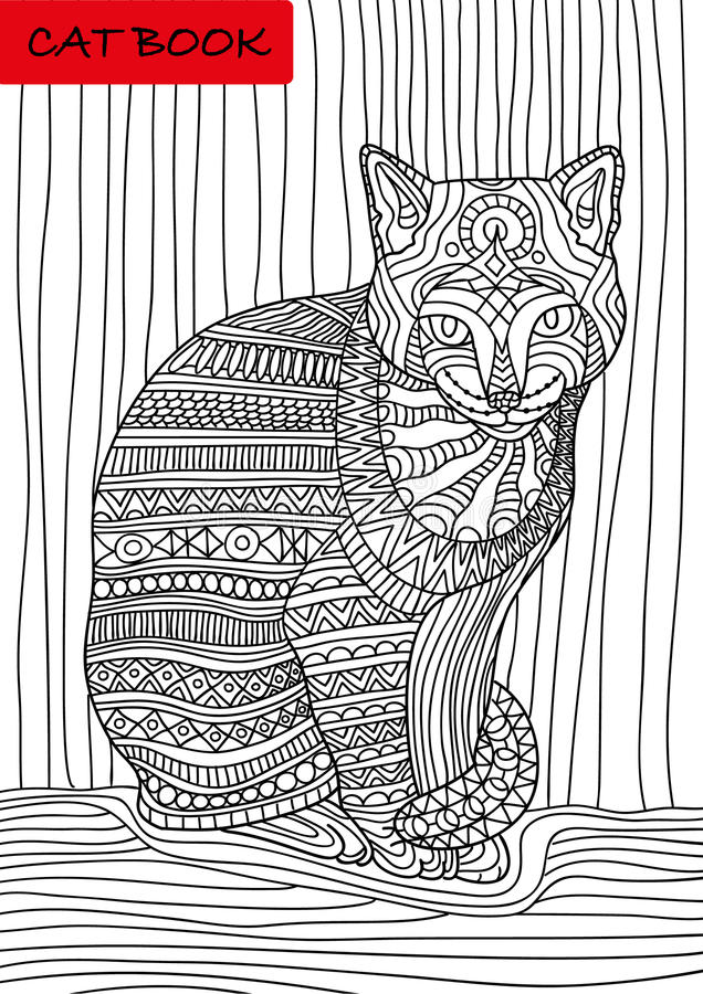 Cat's book. Colorized patterns cat sits and looks seriously vector illustration