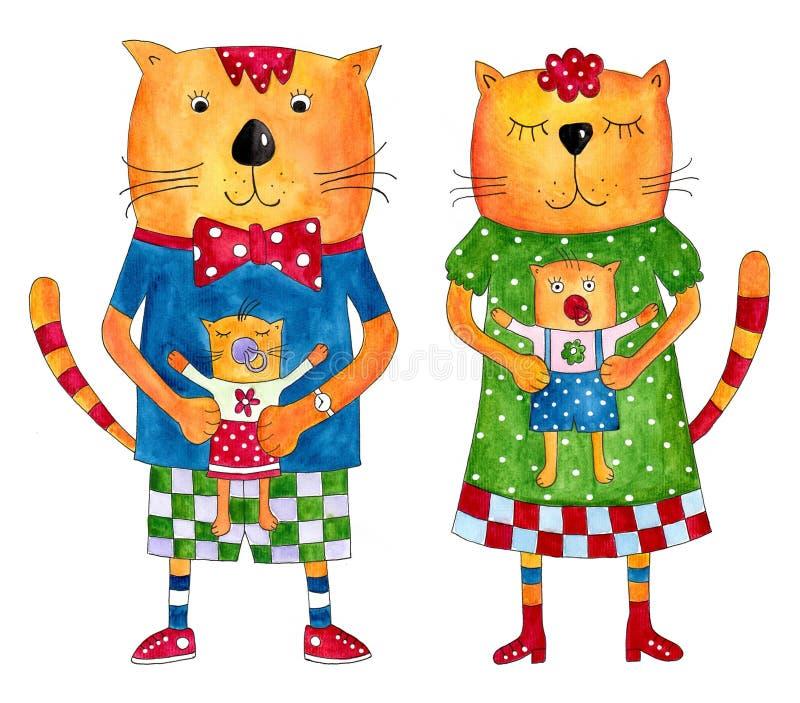 Download Cat's family stock illustration. Illustration of greeting - 25500142