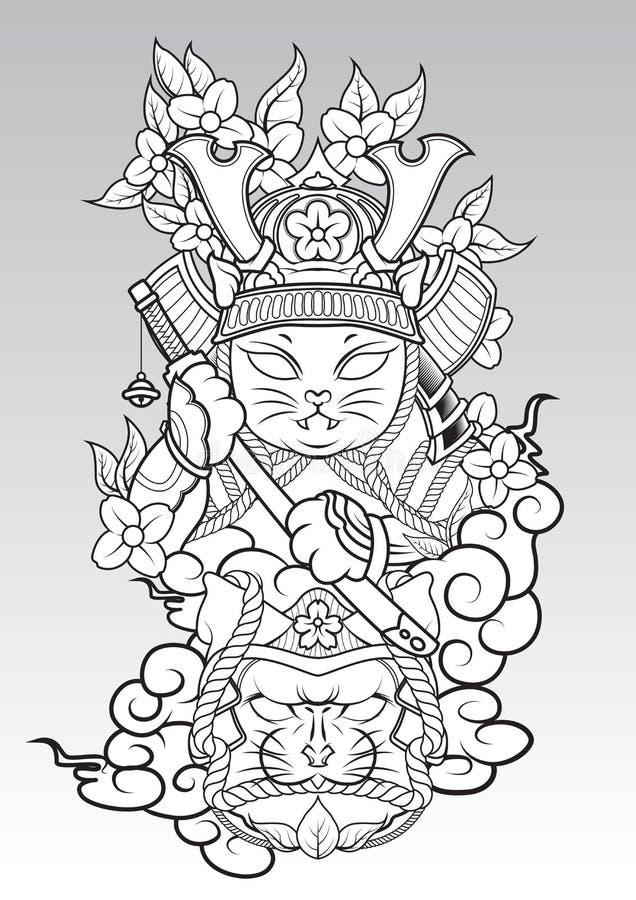 Cat Samurai on colud and Sakura blossom., Japanese Tattoo style royalty free stock photography