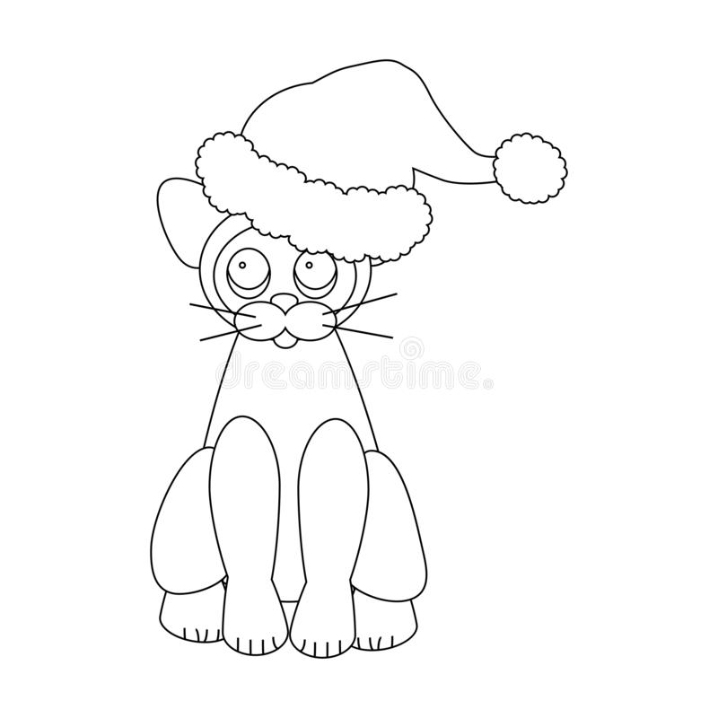 Cat in Santa Claus hat. On the white background. Vector illustration stock illustration