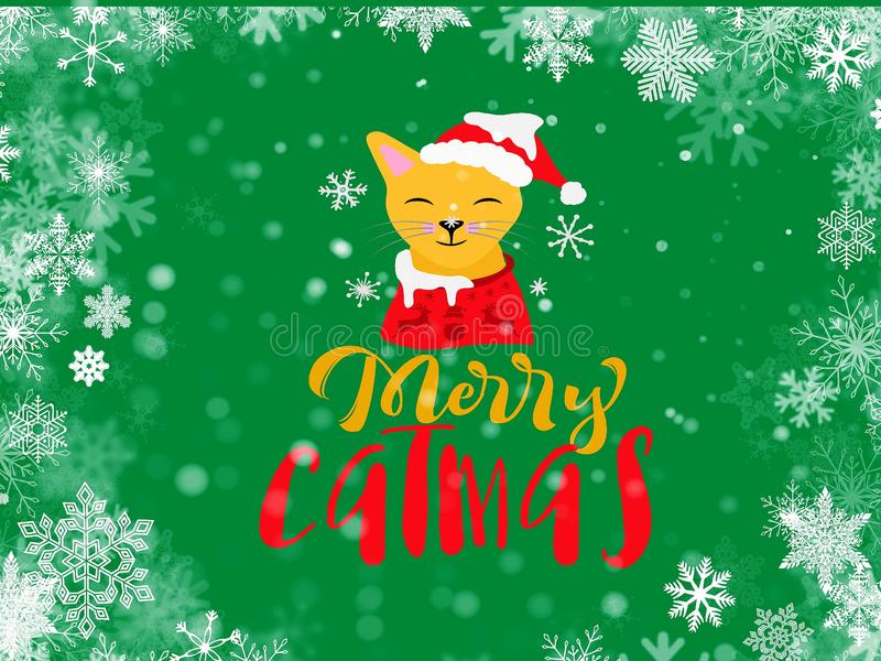 Cat Santa Claus in red hat Merry Christmas and happy holidays wishes quotes  greeting card decoration white tree ball on blue back royalty free illustration