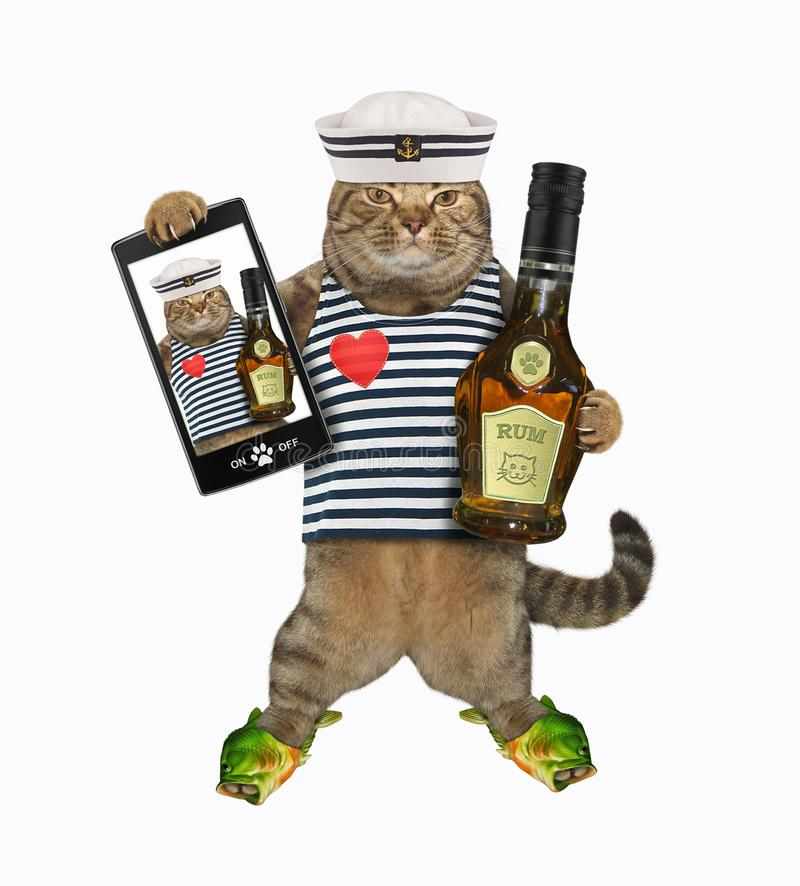 Cat seaman with rum and a smartphone stock images