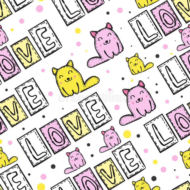 Cat Seamless Pattern linda en estilo del remiendo libre illustration