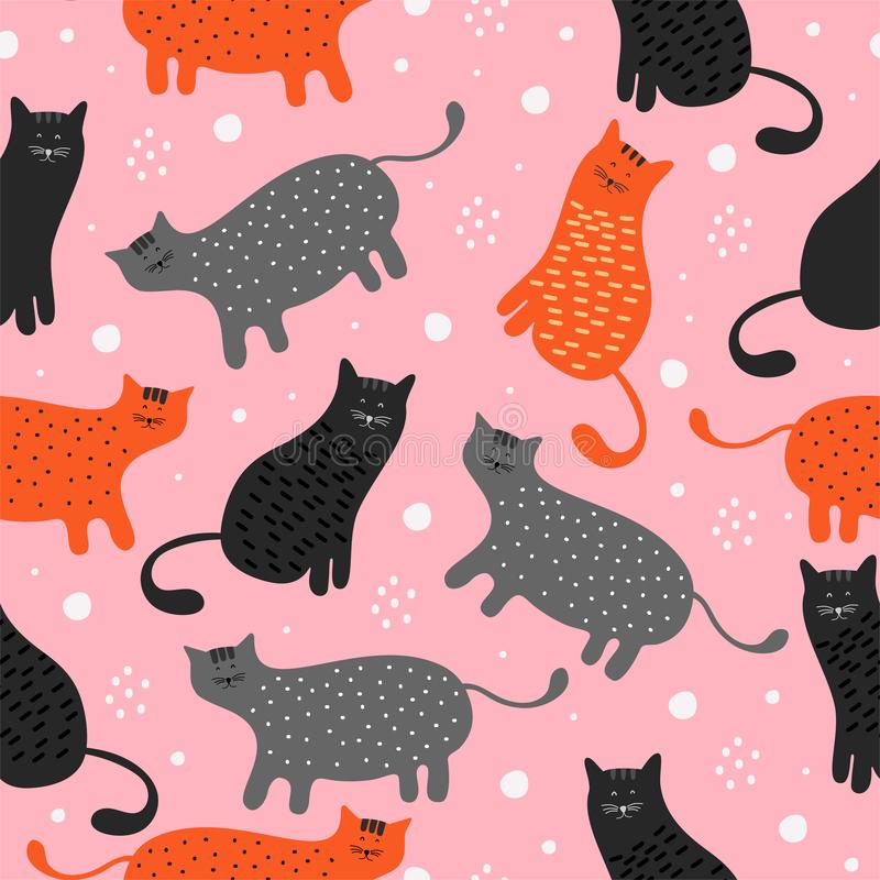 Cat seamless pattern vector illustration. Childish handcrafted wallpaper for design card, baby nappy, diaper, scrapbook, holiday vector illustration