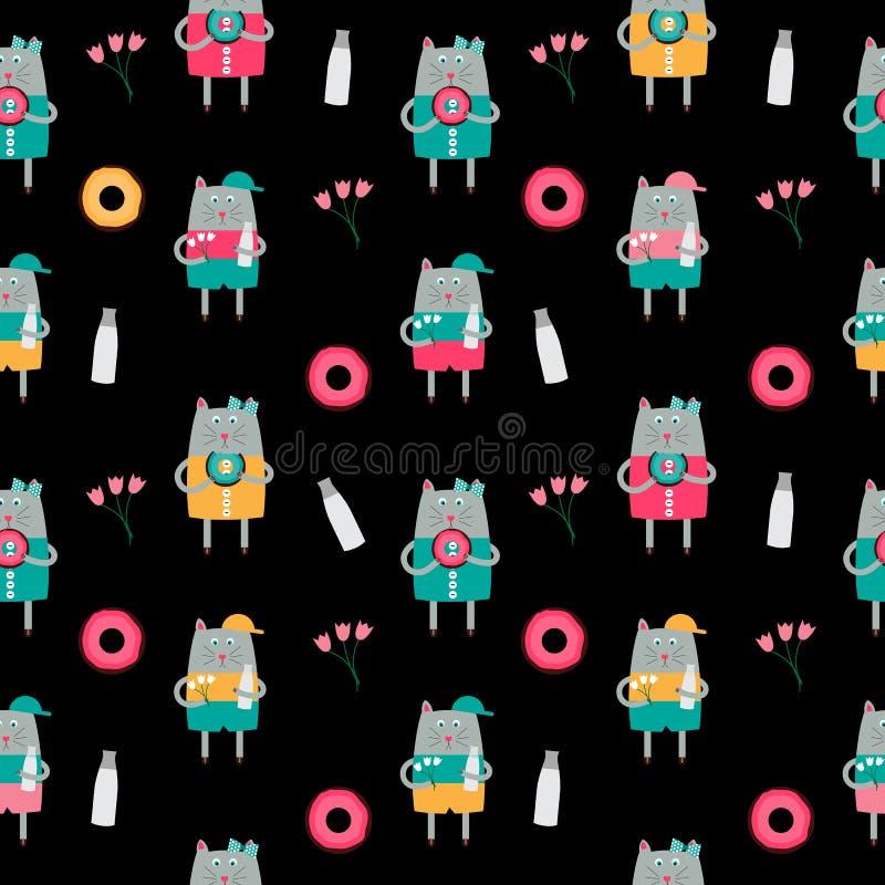 Cat Seamless Pattern Vector Illustration Handdrawn linda ilustración del vector