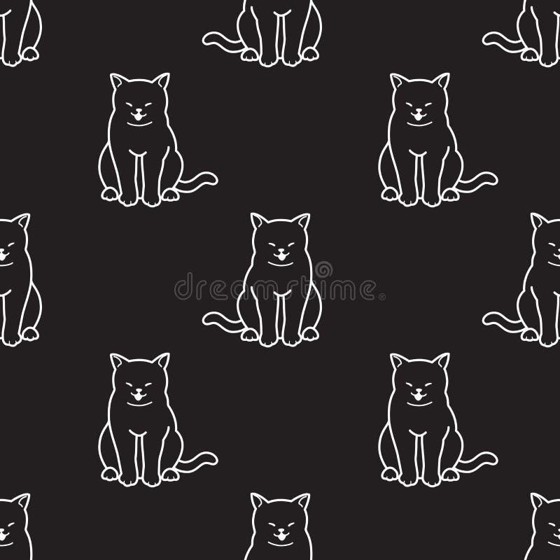 Cat Seamless Pattern-Vektorkätzchenlächeln Gekritzel-Tapetenhintergrund lokalisierte Schwarzes stock abbildung