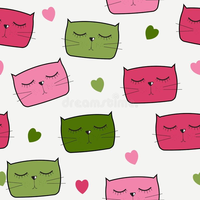 Cat Seamless Pattern Vetora Handdrawn bonito ilustração royalty free