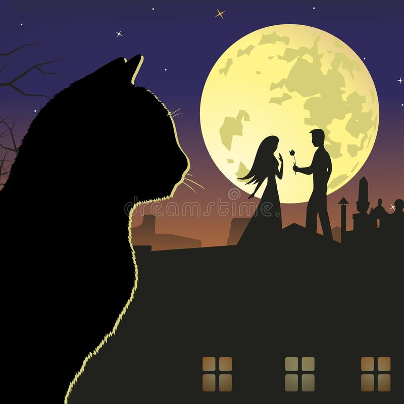 Cat. And a secret rendezvous. Vector format vector illustration