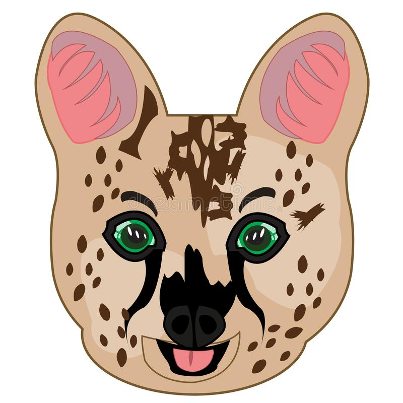 Cat serval on white background is insulated royalty free illustration