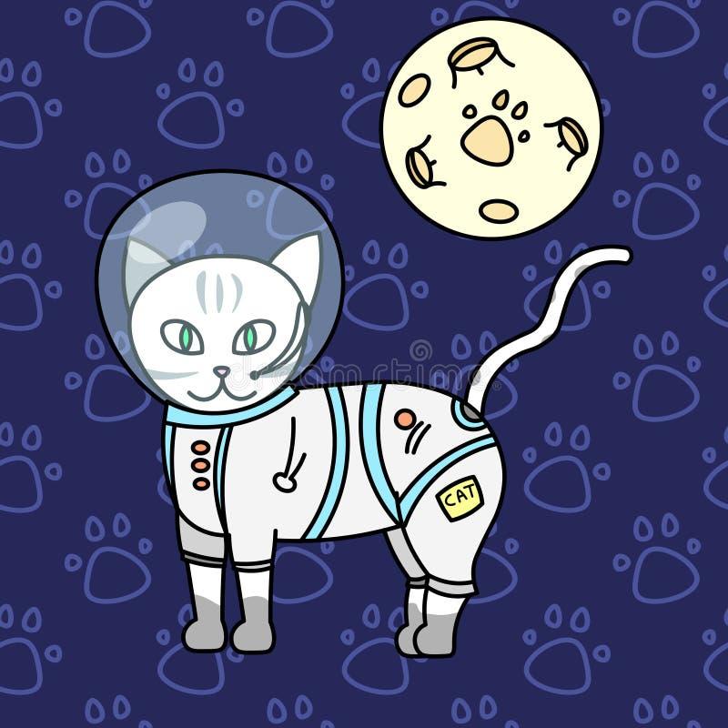 сute kitty, astronaut cat, baby vector illustration, seamless background pattern stock illustration