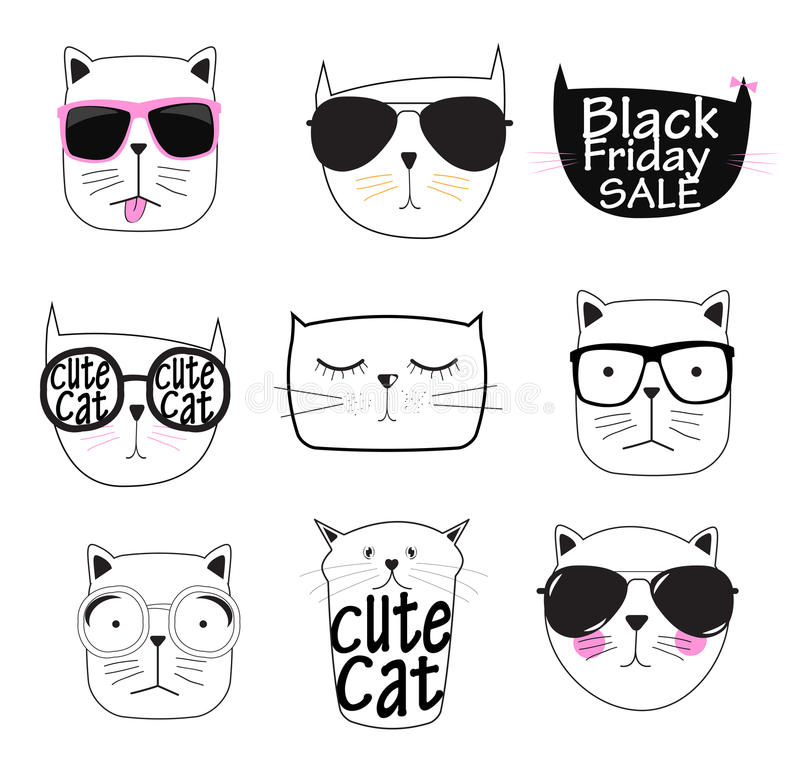 Cat Set Vector Illustration Handdrawn linda stock de ilustración