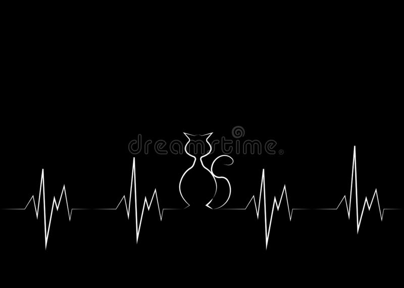 Cat silhouette in audio wave or sound wave design. Vector linear representation of cat in black background Original concept of cat stock illustration
