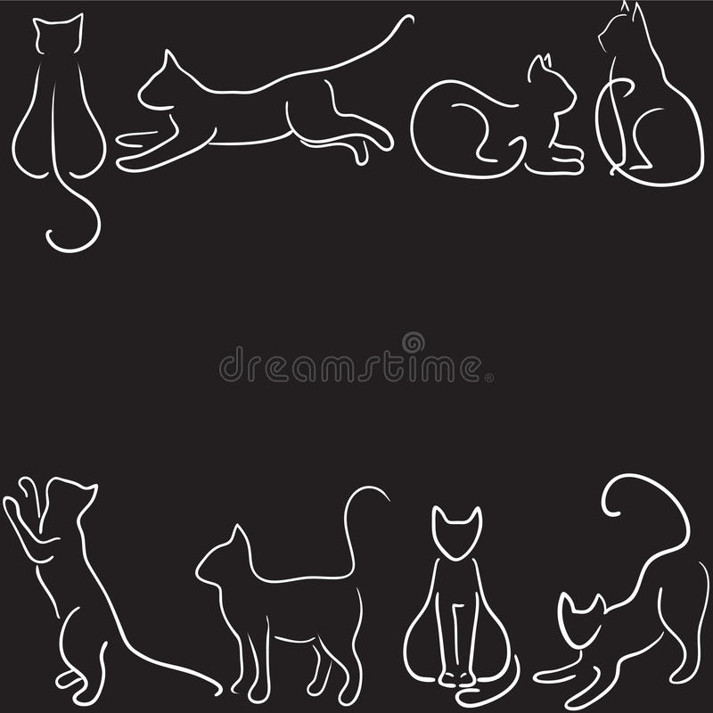 Cat silhouette border. Black background with cat silhouette border vector illustration