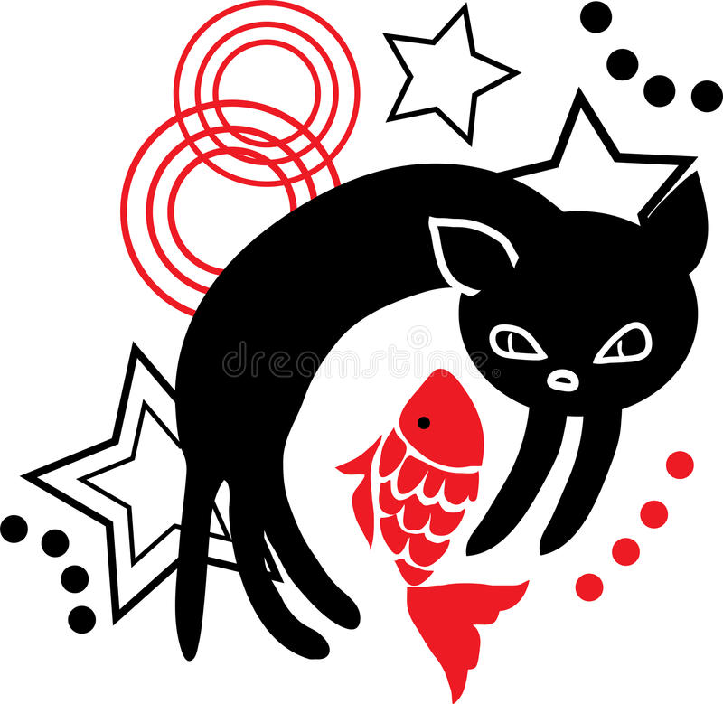 Cat Silhouette With Fish Stock Photos