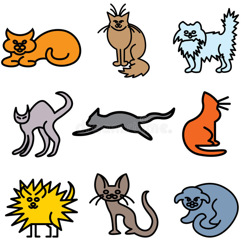 Download Cat silhouette icons stock vector. Illustration of collection - 24534182