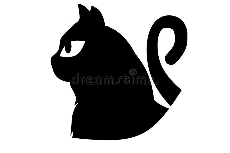 Cat Silhouette Isolated negra en el fondo blanco stock de ilustración
