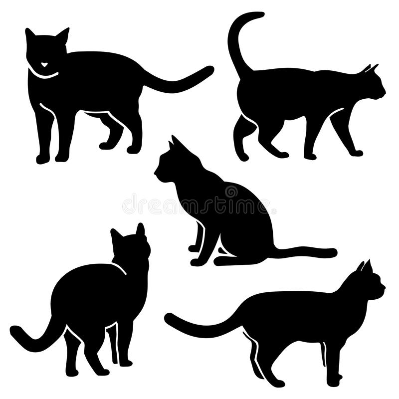 Cat Silhouette Vetora ilustração royalty free