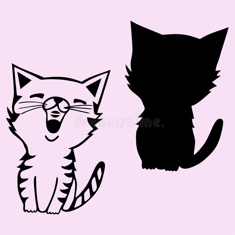 Cat sings silhouette vector illustration. Cat sings silhouette vector black illustration vector illustration