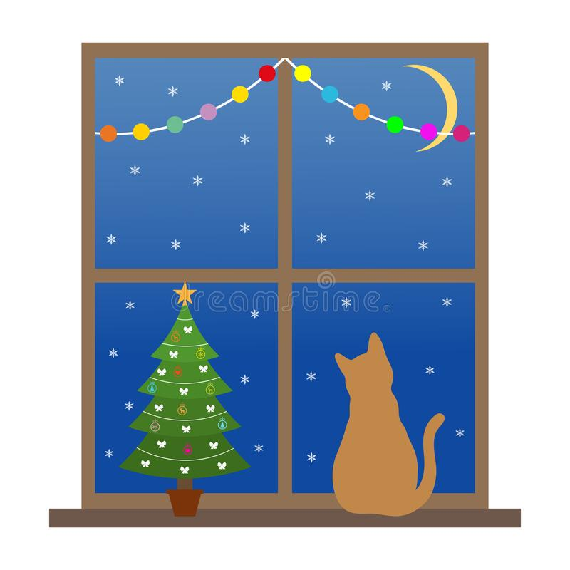 Cat sits on a window with a Christmas tree and looks at the snow at night vector illustration