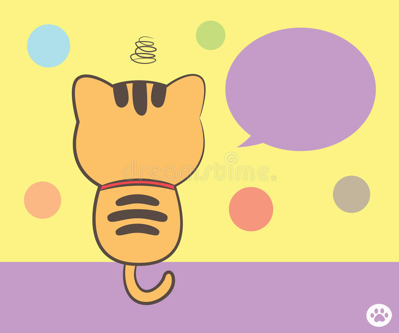 Cat Sitting Back With Speech Bubble Stock Photo