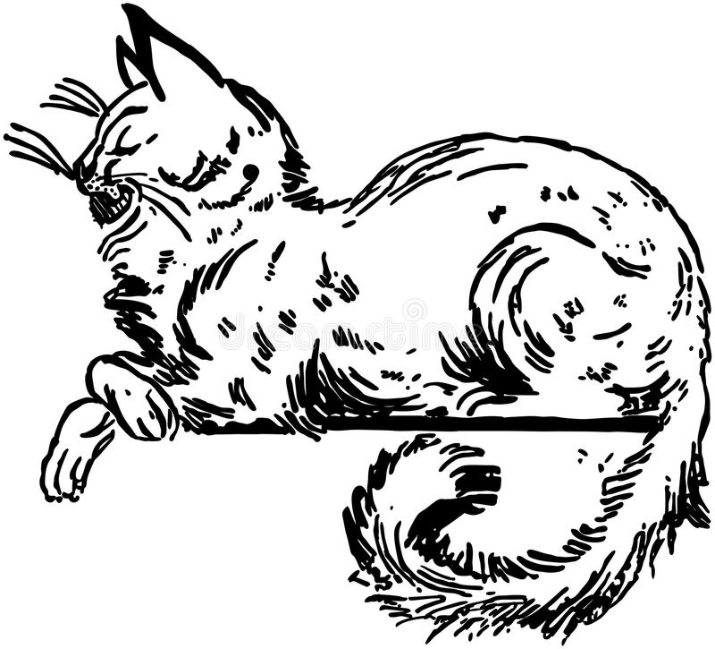 Cat Sitting On Ledge stock illustrationer