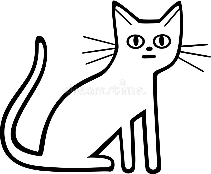 Line Art Cat : Cat sitting stock vector image