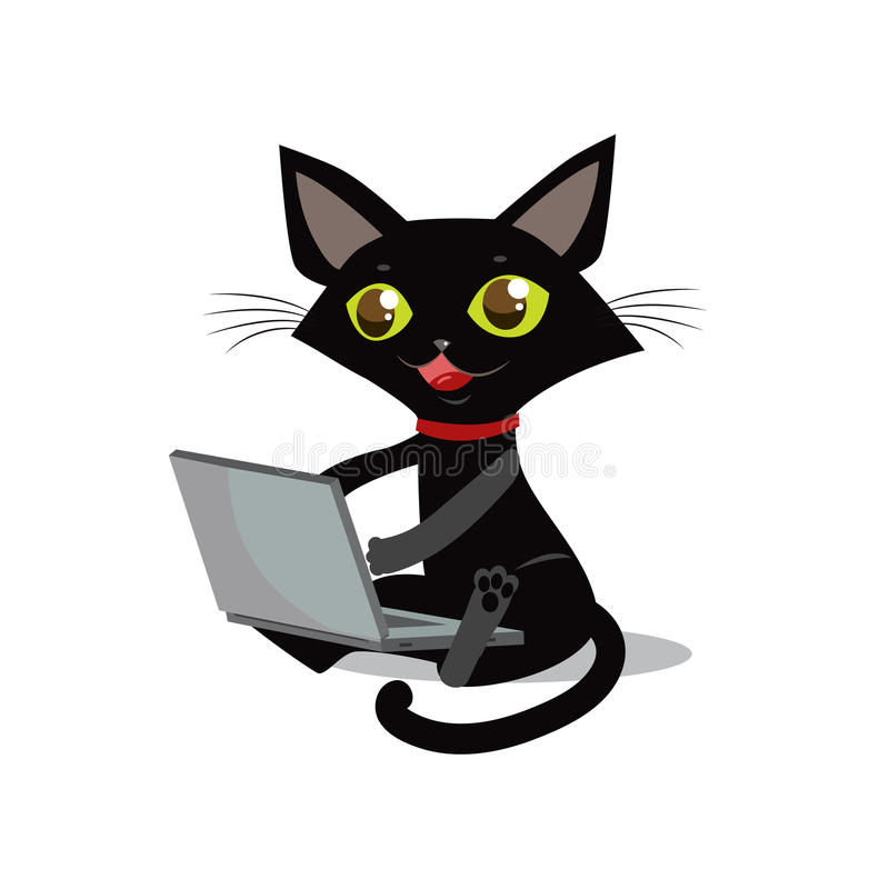 The cat is sitting. Vector cat. Cat and laptop. Curious cat. royalty free illustration