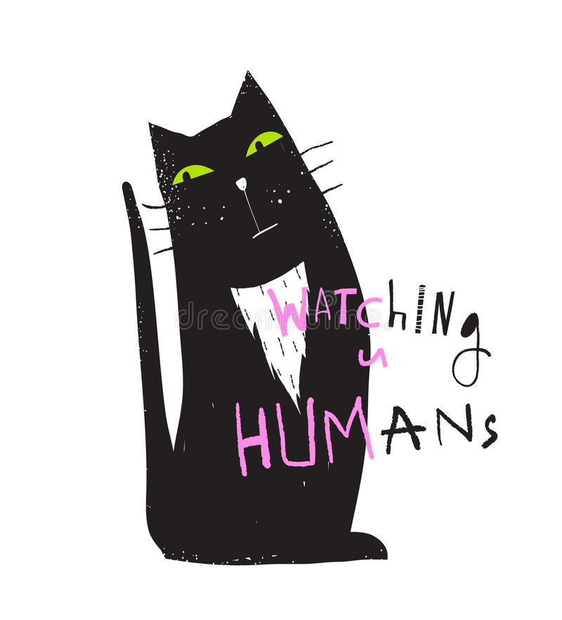 Cat Sitting Watching You Graphic-Druk royalty-vrije illustratie