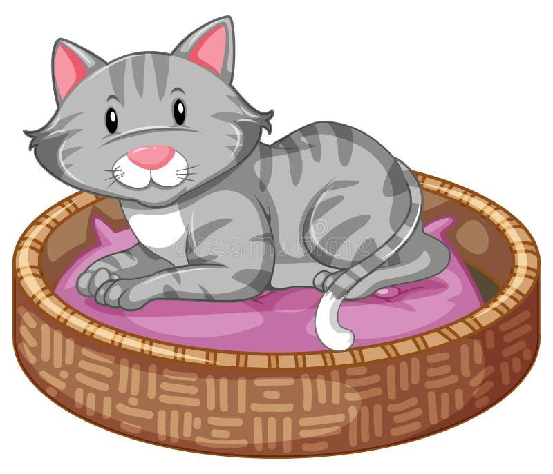 Cat Sleeping In The Bed ilustración del vector