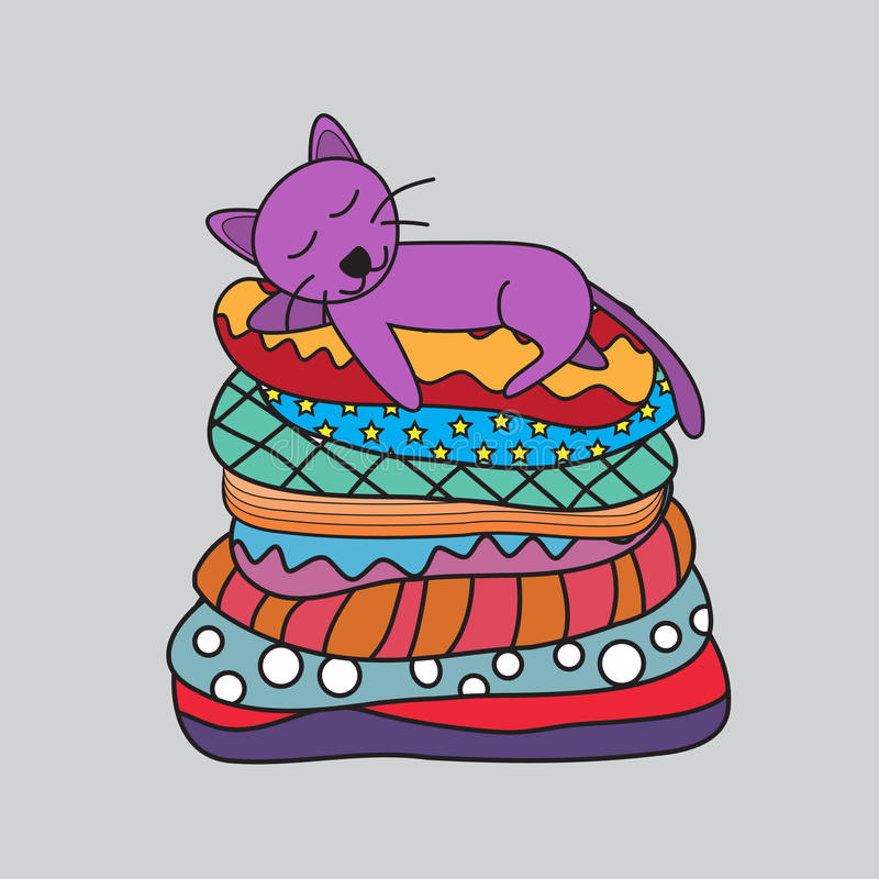 Cat Sleeping On The Couch ilustração royalty free