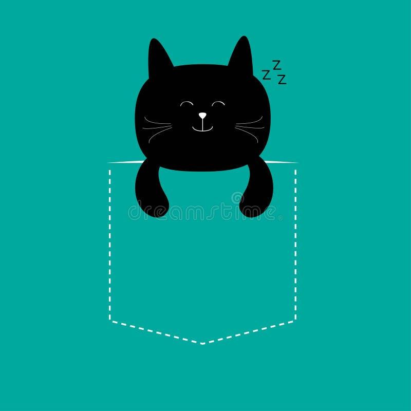 Cat sleeping in the pocket. Cute cartoon character. Black kitten sleep kitty. Dash line. stock photography