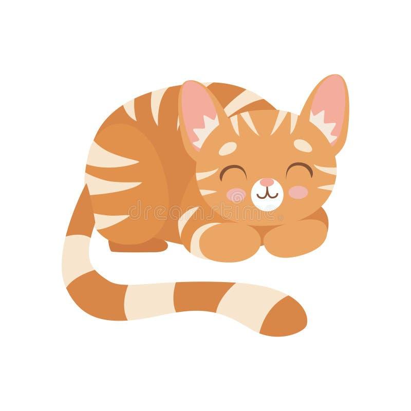 Cat Sleeping rossa barrata, illustrazione sveglia di Kitten Animal Pet Character Vector illustrazione di stock