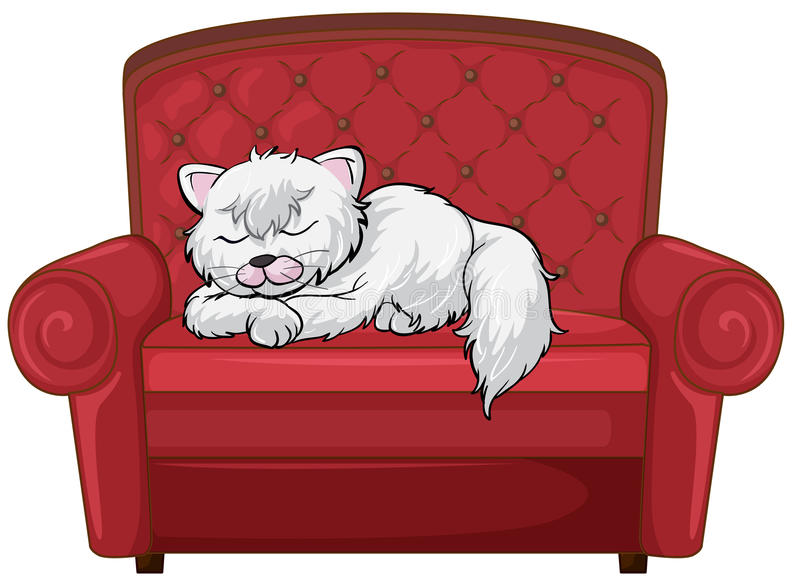 A cat sleeping soundly at the chair stock illustration