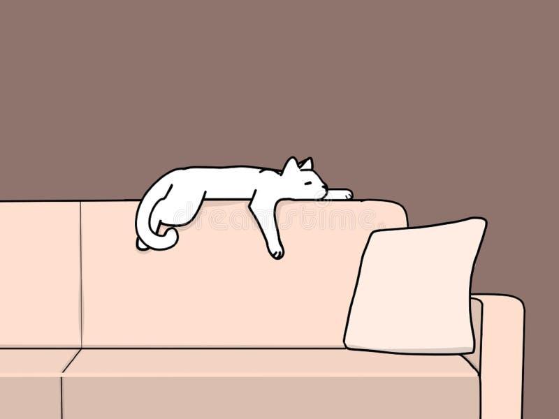 Cat Sleeping sur l'animal de sofa et l'illustration d'animaux familiers illustration de vecteur