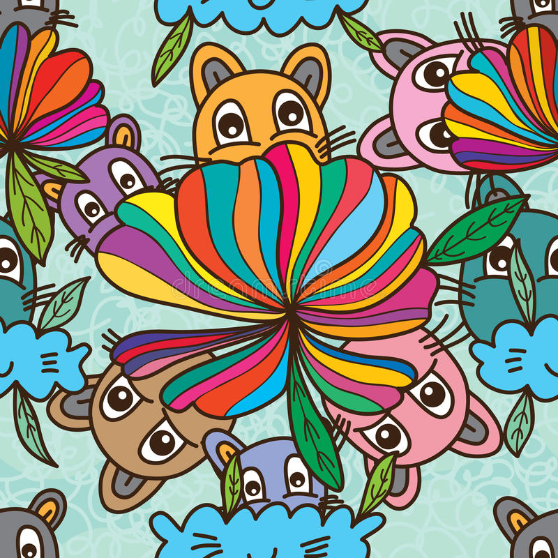 Cat smell flower abstract seamless pattern stock illustration