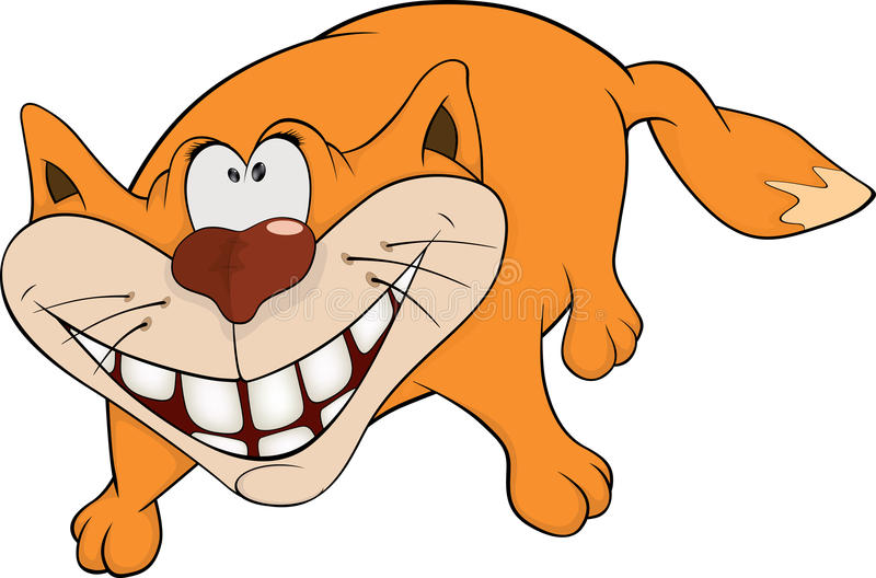 Cat and a smile. Cartoon stock vector. Illustration of ...