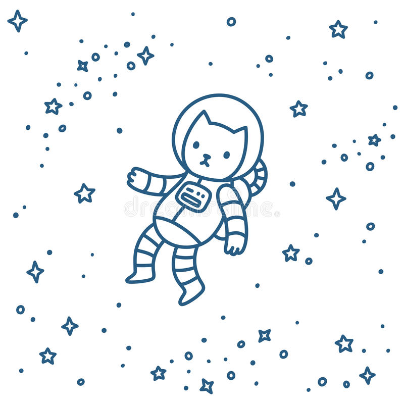 Cat in space stock illustration