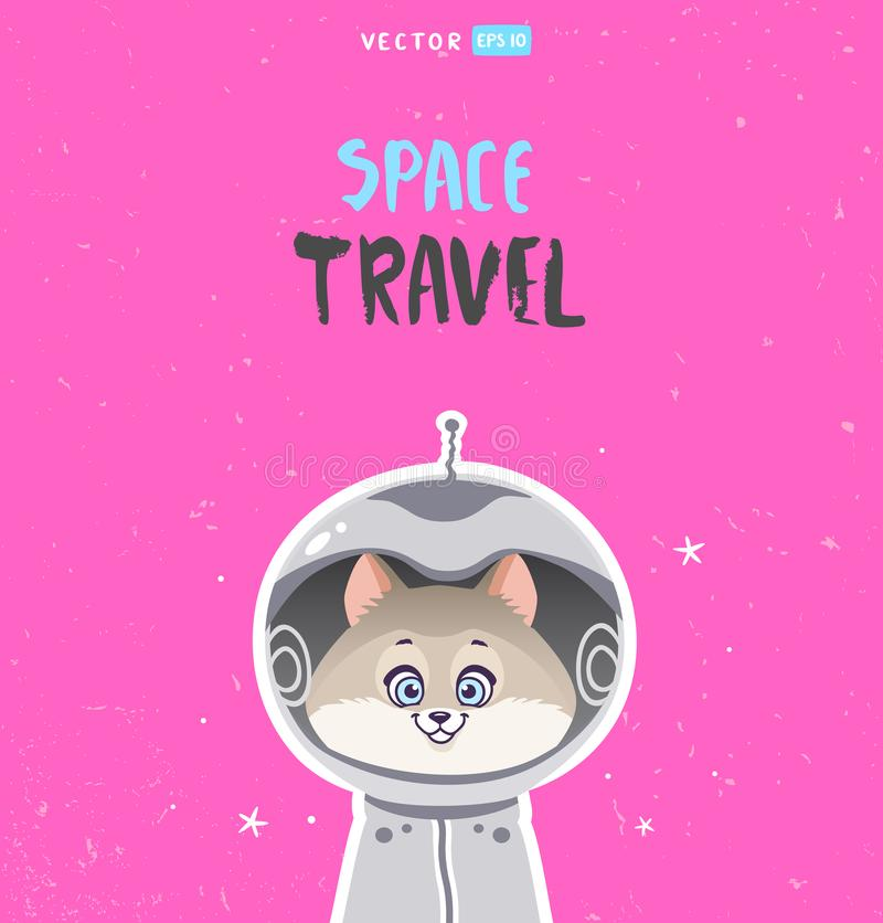 Cat space. Super cute and funny cartoon cat in a space suit. Character animal. Childrens illustration. Stylish vector illustration vector illustration