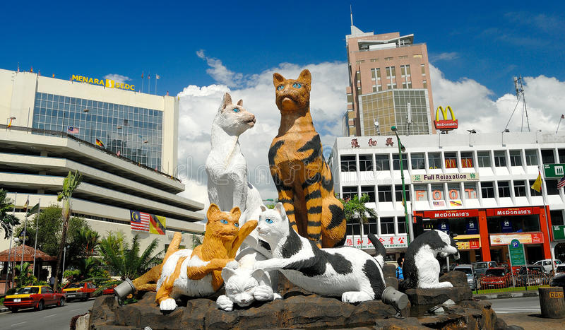 Cat Statue, Kuching, Sarawak, Malaisie photographie stock