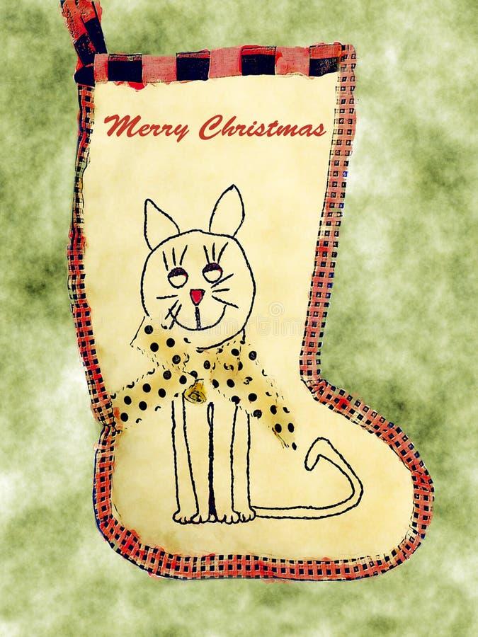 Cat Stocking felice immagine stock libera da diritti