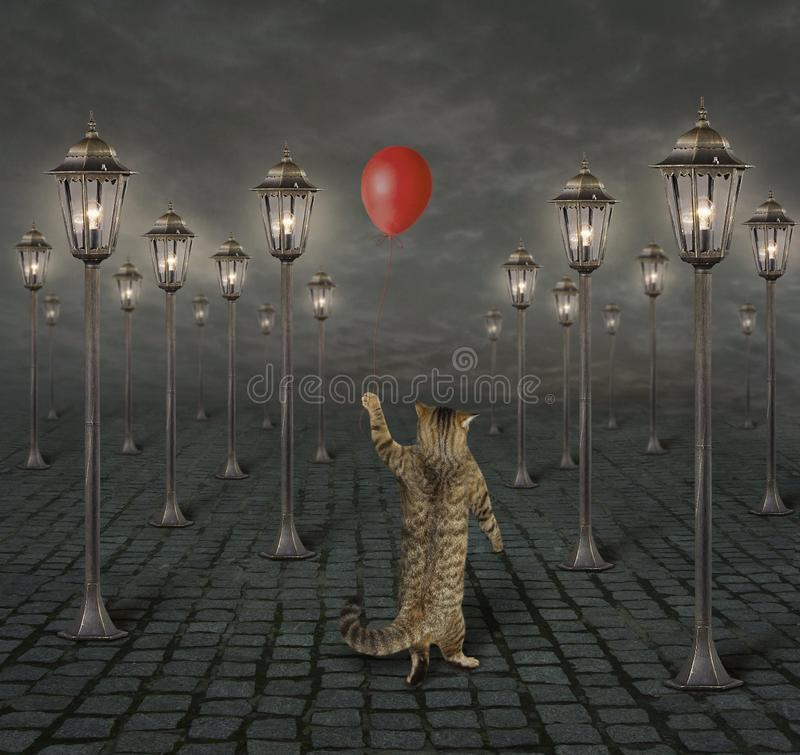 Cat and street lights. The cat with a red balloon is walking among the street lights at night stock illustration