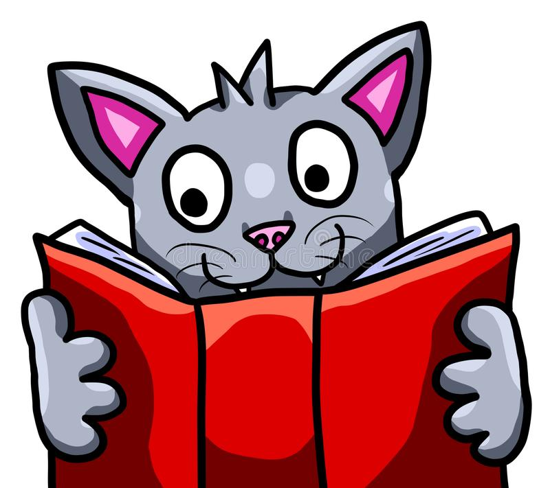 Cat Studying adorável ilustração royalty free