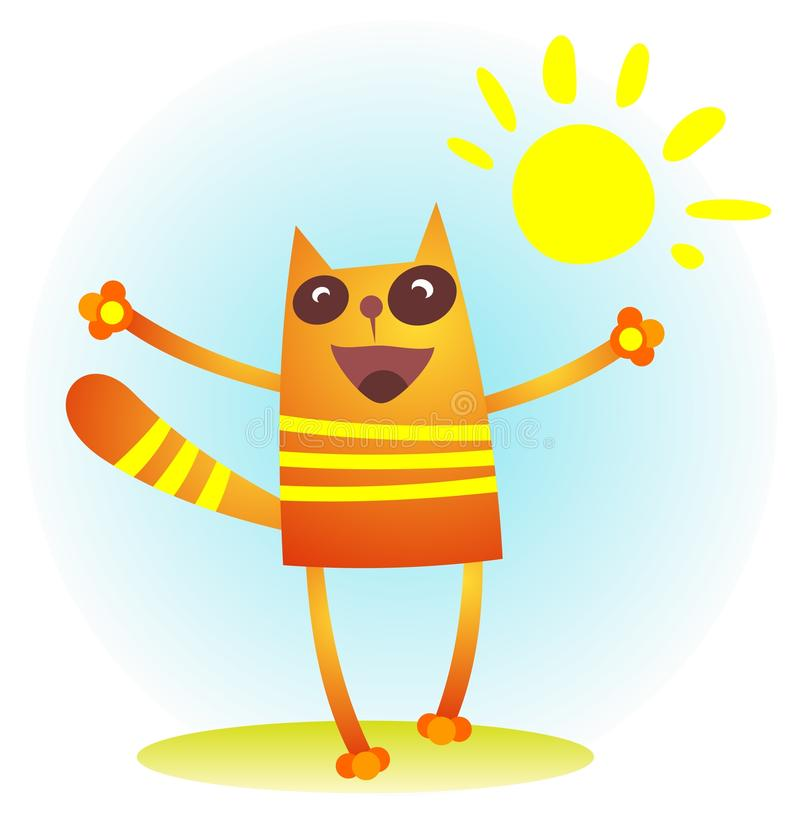 Download Cat with sun stock vector. Image of white, animal, image - 26146918