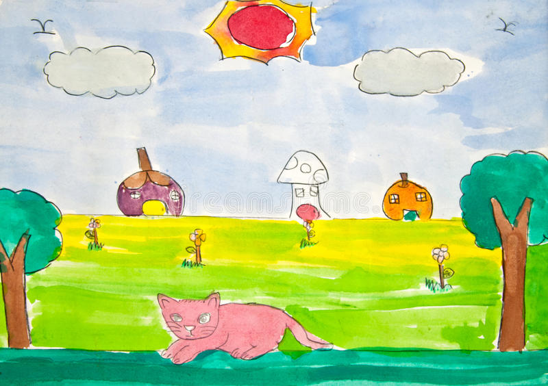 Cat and sunny day, child's drawing. Cat and sunny day drawing - made by child royalty free stock photography