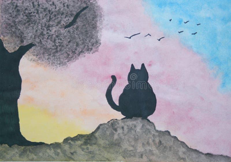 Cat At The Sunset ilustração do vetor