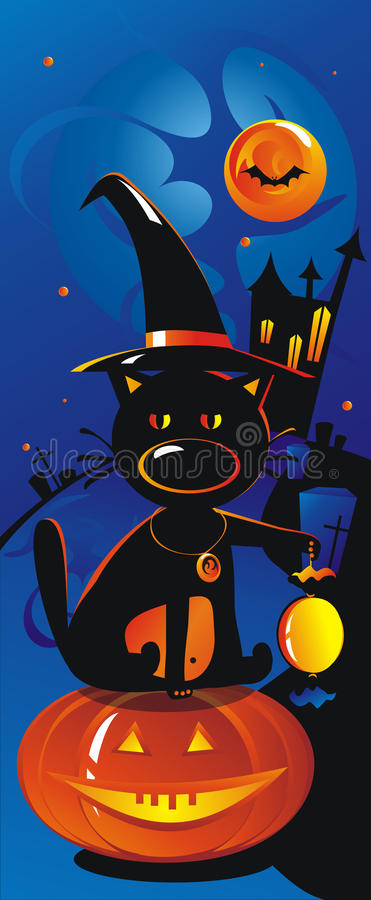 Download Cat with a sweet in a hat stock vector. Image of black - 21993057
