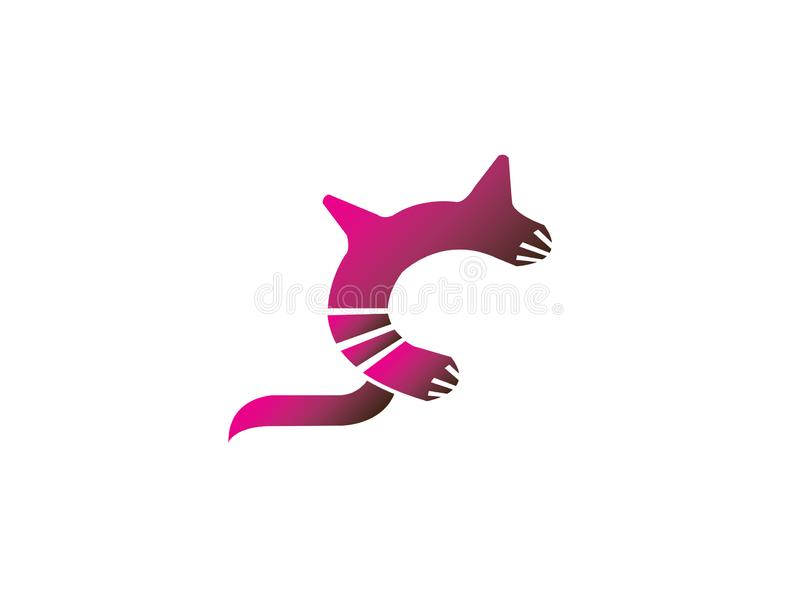 Cat symbol with big tail for logo design royalty free illustration