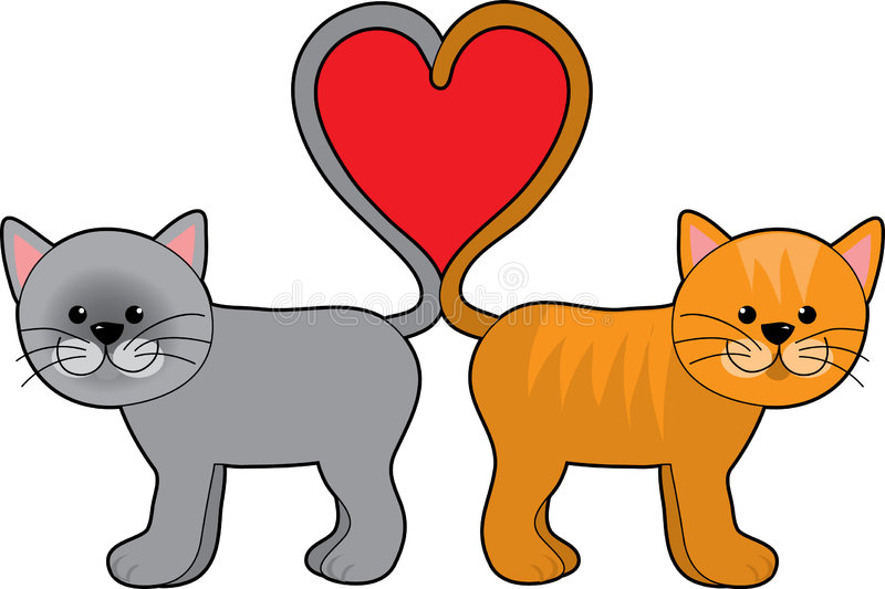 Cat Tail Hearts. A pair of cats with their tails shaped in a heart royalty free illustration