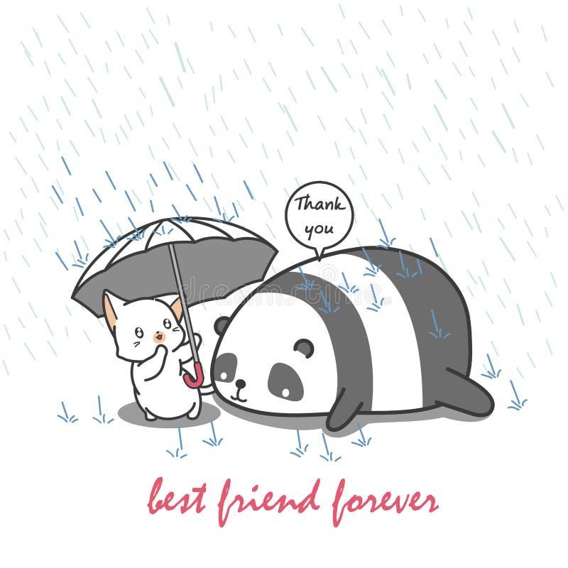 Cat is taking care panda. stock illustration